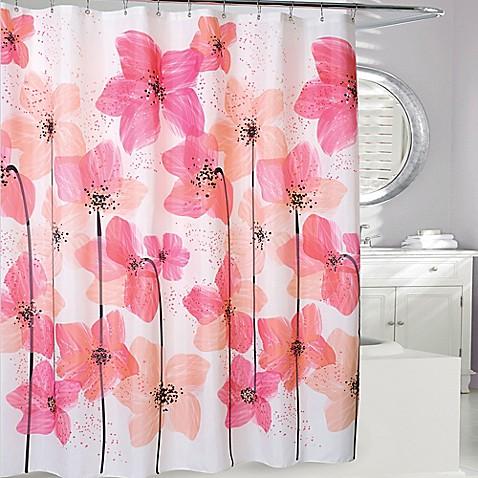 Georgia Shower Curtain In Coal Peach Bed Bath Amp Beyond
