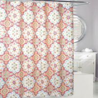 Tanya Shower Curtain In Coral Yellow