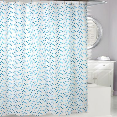 High Quality Cube PEVA Shower Curtain In Blue/White