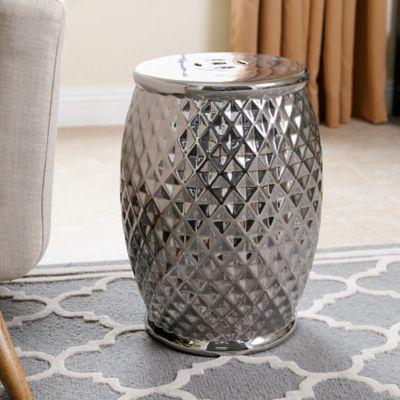 Abbyson Living® Marina Tufted Garden Stool In Silver