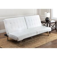 Abbyson Living Jackson Faux Leather Futon Sofa in Ivory