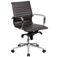 Flash Furniture Mid-Back Ribbed Conference Chair in Brown
