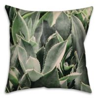 Lavish Succulent Square Throw Pillow in Green