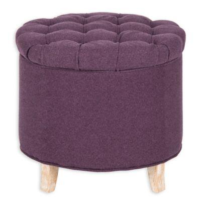 Safavieh Amelia Round Storage Ottoman in Plum - Buy Purple Ottoman From Bed Bath & Beyond