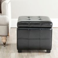 Safavieh Madison Square Tufted Ottoman in Black
