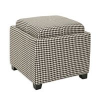 Safavieh Harrison Single Tray Storage Ottoman in Black/White