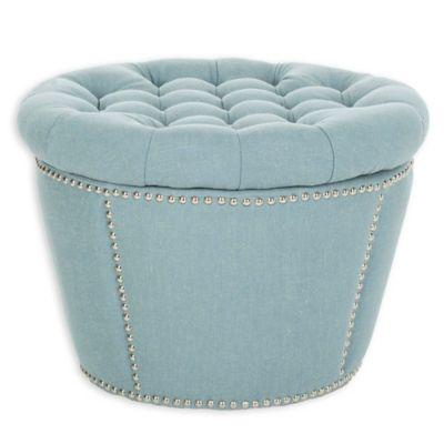 Safavieh Vanessa Storage Ottoman in Sky Blue - Buy Blue Ottomans From Bed Bath & Beyond