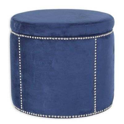 Safavieh Jody Small Storage Ottoman in Navy - Buy Navy Storage Ottoman From Bed Bath & Beyond