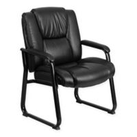 Flash Furniture Big & Tall Hercules Series Leather Executive Side Chair in Black