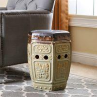 Abbyson Living Milana 18-Inch Embossed Ceramic Garden Stool