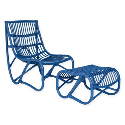 Safavieh Shenandoah Chair and Ottoman Set in Blue  sc 1 st  Bed Bath u0026 Beyond : outdoor chair and ottoman set - Cheerinfomania.Com