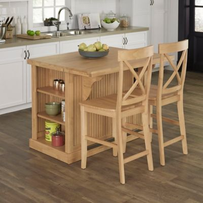 Home Styles 3-Piece Butcher Kitchen Island with Stools in Natural & Buy Kitchen Island Stools from Bed Bath u0026 Beyond islam-shia.org