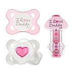 MAM Love & Affection Age 0-6 Months I Love Daddy Pacifiers and Clip Set in Pink