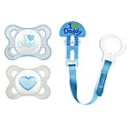 MAM Love & Affection Age 0-6 Months I Love Daddy Pacifiers and Clip Set in Blue
