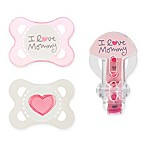MAM Love & Affection Age 0-6 Months I Love Mommy Pacifiers and Clip Set in Pink