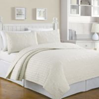 Crystal Reversible Full/Queen Quilt Set in Ivory