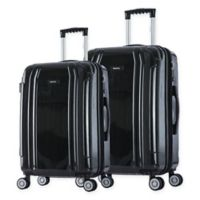 InUSA SouthWorld 2-Piece Spinner Suitcase Set with 23-Inch and 27-Inch Suitcases in Dark Grey Brush