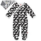 SKIP*HOP® Size 6M 2-Piece Clouds Side-Snap Footie and Bandana Bib Set in Black