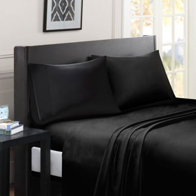 Madison Park Essentials Micro Splendor Full Size Sheet Set In Black