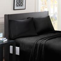 Madison Park Essentials Micro Splendor California King Size Sheet Set in Black