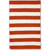 Liorra Manne Sorrento Rugby Stripe 3-Foot 6-Inch x 5-Foot 6-Inch Indoor/Outdoor Area Rug in Paprika