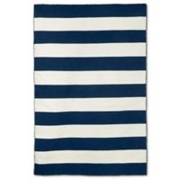 Liorra Manne Sorrento Rugby Stripe 3-Foot 6-Inch x 5-Foot 6-Inch Indoor/Outdoor Rug in Navy