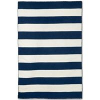 Liorra Manne Sorrento Rugby Stripe 7-Foot 6-Inch x 9-Foot 6-Inch Indoor/Outdoor Rug in Navy