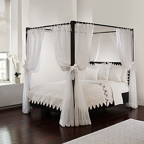 Tie Sheer Bed Canopy Curtain Set In White Bed Bath Amp Beyond