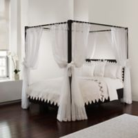 Tie Sheer Bed Canopy Curtain Set in White