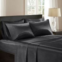Madison Park Essentials Premier Comfort Satin King Sheet Set in Black