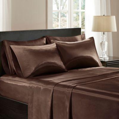 Madison Park Essentials Premier Comfort Satin Full Sheet Set In Chocolate