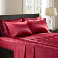 Madison Park Essentials Premier Comfort Satin Full Sheet Set in Red