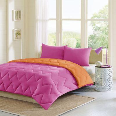 intelligent design trixie 3piece king comforter set in pink