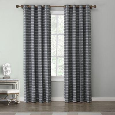 Tyler 84 Inch Grommet Top Window Curtain Panel In Charcoal