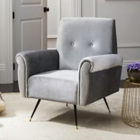 Safavieh Mira Faux Leather Chair in Light Grey