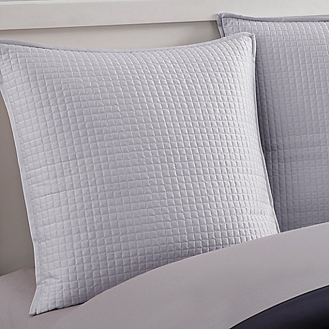 Nikki Chu Poly Dupioni Grid European Pillow Sham