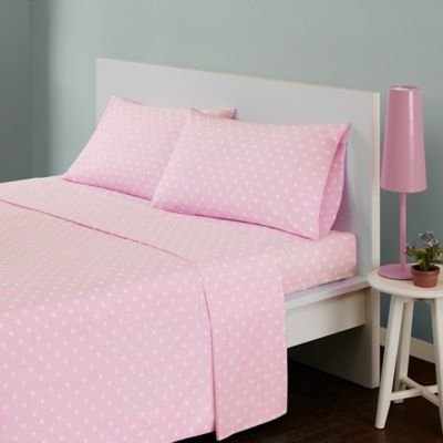 Mi Zone Polka Dot Twin Sheet Set In Pink