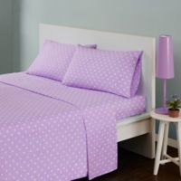 Mi Zone Polka Dot Twin Sheet Set in Purple