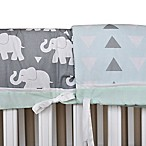 Pam Grace Creations Indie Elephant 4-Piece Crib Bumper Set in Mint