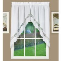 Caylee Kitchen Window Swag Pair in White