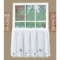 Christine 24-Inch Kitchen Window Curtain Tier Pair in White/Blue
