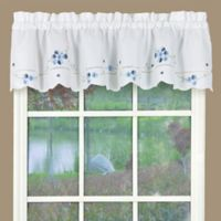 Christine Kitchen Window Valance in White/Blue