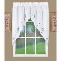 Christine Kitchen Window Swag Pair in Blue/White