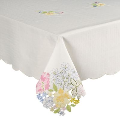 Brianna 60 Inch X 120 Inch Cutwork Tablecloth In Pink