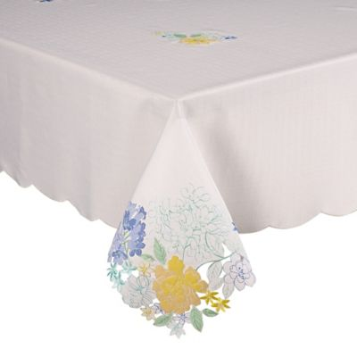 Amazing Homewear Linens 70 Inch Square Brianna Cutwork Tablecloth In Blue