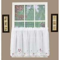 Christine 24-Inch Kitchen Window Curtain Tier Pair in White/Rose