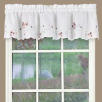 Christine Kitchen Window Valance in White/Rose