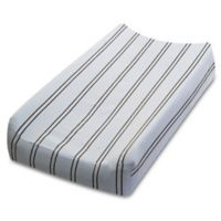 Go Mama Go Designs® Striped Changing Pad Cover in Blue/Chocolate