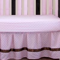 Go Mama Go Designs® Polka Dot Crib Skirt in Pink/Chocolate