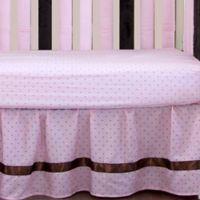 Go Mama Go Designs® Polka Dot Crib Skirt in Pink/Chocolate